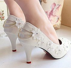 Flat/4cm/7.5cm/wedge white pearl chain flats lace Wedding sh...