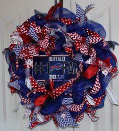 Buffalo Bills Wreath. Custom professional or college sport team deco mesh wreath. Buffalo Bills wreath Buffalo Bills Decor by MadyBellaDesigns on Etsy