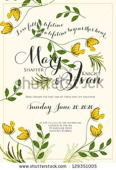 stock vector : Wedding invitation card with abstract floral background.