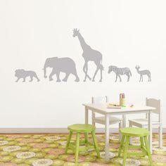 Safari väggdekor Safari, Kidsroom, Room Inspiration, Wall Stickers, Mickey Mouse, Moose Art, Ikea, Wildlife, Animals