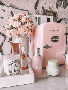 Skin Fridge Pink skin fridge Skin care essentials skin fridge essentials Skin care products Blondie in the City by Hayley Larue Cute Room Decor, Diy Bedroom Decor, Spa Room Decor, Girl Bathroom Decor, Teenage Room Decor, Beauty Room Decor, Home Decor, My New Room, My Room