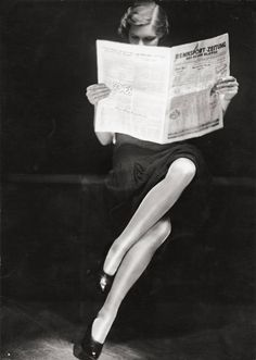 Untitled (Lady reading newspaper), c.1932. Else Ernestine Neulander-Simon or Yva (1900-1942).  Vintage. Gelatin silver print. Towards the end of the 1920s, Yva began focusing on the commercial aspect of photography, specializing in advertising photography. Yva's innovative, and experimental work with multiple exposures became a hallmark of her work.