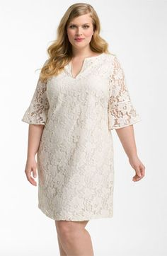 Adrianna Papell Lantern Sleeve Lace Dress (Plus)   Nordstrom
