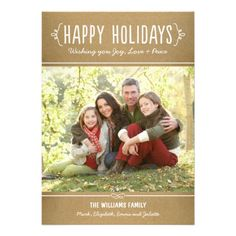 Kraft Happy Holidays Photo Card Template | Joy Love Peace Wishes