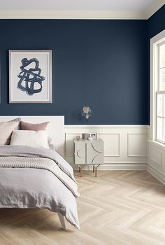 Sherwin-Williams color of the year 2020 - naval bedroom wall paint Swap a scuffed-up interior paint color for these neutral options that will help your home shine, even when you don't have time to clean. Blue Bedroom Walls, Bedroom Wall Paint, Bedroom Decor, Blue Accent Walls, Blue Painted Walls, Bedroom Colors, Bedroom Interior, Sherwin Williams Colors, Bedroom Wall