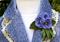 """Very """"Downton Abbey"""" - violets needle felted by machine. From """"Beautiful Blooms"""" pattern"""