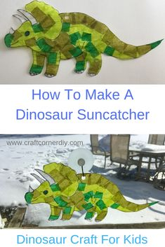 Check out this dinosaur suncatcher craft. This kids craft uses tissue paper and glue. Perfect craft for a dinosaur lover. Dinosaur Art Projects, Dinosaur Crafts Kids, Dino Craft, Paper Dinosaur, Make A Dinosaur, Dinosaurs Preschool, Dinosaur Activities, Preschool Activities, Dinosaurs For Kids