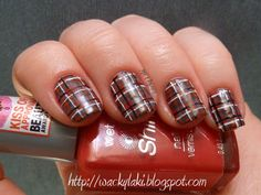 Insanely perfect, free-handed plaid nails