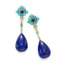 A Pair of Lapis Lazuli,  Turquoise and Diamond Ear Pendants,  by Boucheron, circa 1940