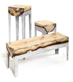 burnt wood and aluminum bind together to form these furniture pieces, by Hilla Shamia