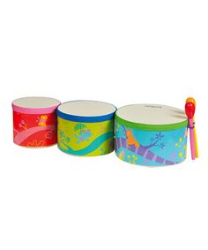 Take a look at this Wooden Bongo Drum Trio by Boikido on #zulily today! $30 !!