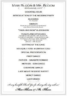 Wedding Reception Program Sample Templates Sample Wedding