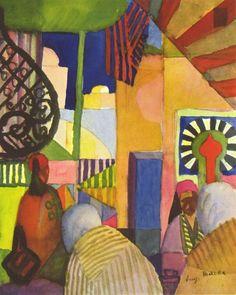 August Macke (1887–1914) At The Bazar,1914. Август Маке (1887-1914) В Базаре,1914. August Macke(1887-1914)在1914年的巴扎尔。
