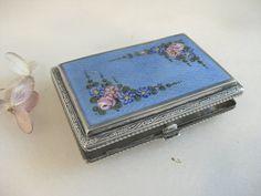 30's silver and enamel guilloché cigarette by VintageVagabondToo