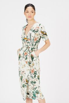 Buy Warehouse Print Bird Wrap Dress, Neutral from our Women's Dresses range at John Lewis & Partners. Fashion Now, Latest Fashion Clothes, Fashion Ideas, I Dress, Lace Dress, Dress Codes, Bridesmaid Dresses, Wrap Dresses, Cool Outfits