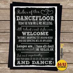 PERSONALISED-Chalkboard-DANCE-FLOOR-RULES-Wedding-Sign-Band-DJ-SIGN #LaminateHardwoodFlooring Wedding Dj, Wedding Signs, Wedding Ideas, Laminate Hardwood Flooring, Vinyl Flooring, Dance Floor Rules, Dad Dancing, Flooring Companies, Hands In The Air