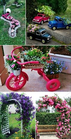 Garden Design Flower - New ideas Front Yard Garden Design, Garden Yard Ideas, Diy Garden Projects, Garden Crafts, Diy Garden Decor, Lawn And Garden, Garden Art, Garden Tools, Garden Junk