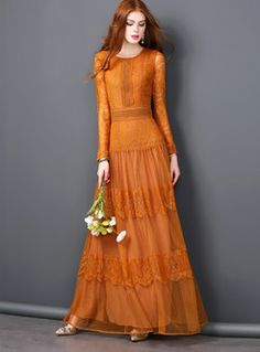 4c00f9b520e Elegant Pure Color O-neck Maxi Dress