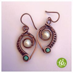 wire wrapped copper handmade earring with pearl by HappyWireBijoux