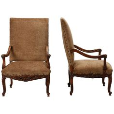Pair of French Carved Frame High Back Armchairs