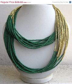 15% estate vendita verde lunga collana/Handmade di footsoles24