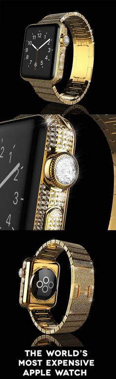 The World's Most Expensive Apple Watch.  An 18k Gold watch encrusted with diamonds. Sapphire crystal retina display with force touch and ceramic back.