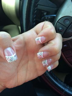 Sparkly French tip nails!! For Vegas!!
