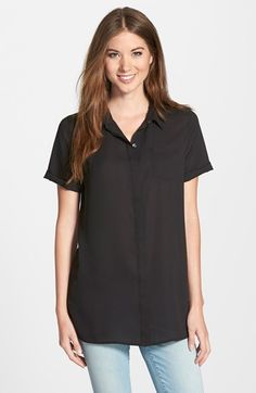 Petite Women's Halogen Short Sleeve Tunic