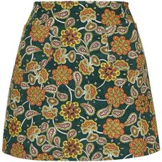 **Zyana A-Line Skirt by Motel (65 AUD) ❤ liked on Polyvore featuring skirts, bottoms, green, floral skirt, high waisted knee length skirt, green cotton skirt, green skirt and a line skirt