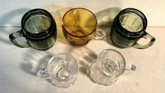 Lot 5 Shot Glasses Miniature Glass Mugs 2 Green 2 Clear 1 Amber Barware