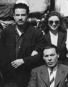 """فاتن و فريد شوقي ..فى كواليس فيلم """" الزهور الفاتنة """" انتاج سنة 1952"""