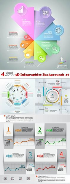 Vectors - 3D Infographics Backgrounds 16