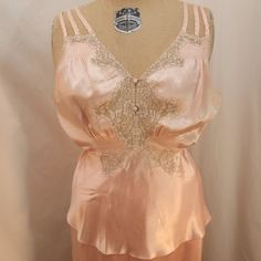 Vintage Pajama Set - Light Pink with Taupe Lace, Plazzo Pant Bottoms. #uncommongoods #contest
