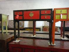 Black and Red Asian Inspired Console Table Los Angeles by housecandyla, $599.00