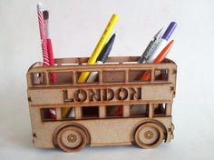 MDF craft blank Pencil House Laser Cut Small Bus by AteleLana