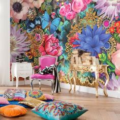 Loving this Brewster Home Fashions Melli Mello Kevena Wall Mural on Animal Print Wallpaper, Bold Wallpaper, Wallpaper Roll, Photo Wallpaper, Bright Coloured Wallpaper, Feature Wallpaper, Botanical Wallpaper, Deco Baroque, Wall Decor