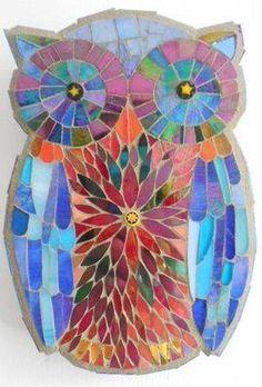 Blue Baby Owl by Catherine van Giap Owl Mosaic, Mosaic Birds, Mosaic Diy, Mosaic Crafts, Mosaic Projects, Stained Glass Projects, Stained Glass Art, Butterfly Mosaic, Stone Mosaic