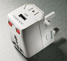 150-Country Travel Adapter / Solve your worldwide power needs with this 150-Country Travel Adapter ( $30 ) for sale through Hammacher Schlemmer. It's configurable to fit a variety of international sockets throughout Europe, Africa, Asia, the Americas and Australia. An internal surge protector is built-in as well as a USB port for powering devices like iPods and cell phones.