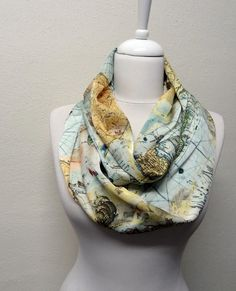 Because I have a serious obsession with world maps! Old World Map Pattern Soft Silky Fabric Infinity scarf, Scarves, Shawls, Spring - Fall - Winter - Summer fashion on Etsy, $16.00