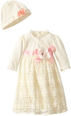 Nannette Baby-Girls Newborn Ruffle Lace Gown With Hat, Beige, 6-9 Months Nannette