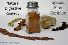 This Natural Digestive Remedy: Spiced Flax Sprinkle is full of fiber and tasty spice to aid digestion.