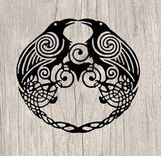 Celtic Raven Tattoo, Viking Tattoos, Old Norse, Norse Pagan, Viking Designs, Celtic Knot Designs, Scandinavian Tattoo, Crows Ravens, Vinyl Paper