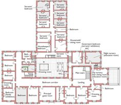 Brodsworth Hall, Brodsworth, Doncaster, South Yorkshire, first floor plan