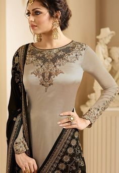 Drashti dhami grey satin georgette embroidered churidar suit 3207 is part of Dresses - Buy drashti dhami grey satin georgette embroidered churidar suit 3207 online in USA, UK and Canada from KollyBollyEthnnics com Designer Anarkali Dresses, Designer Party Wear Dresses, Kurti Designs Party Wear, Designer Sarees, Indian Fashion Dresses, Dress Indian Style, Pakistani Bridal Dresses, Pakistani Dress Design, Salwar Kameez Neck Designs