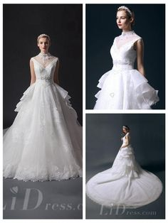 High Neckline Beaded Bodice Ball Gown Wedding Dresses