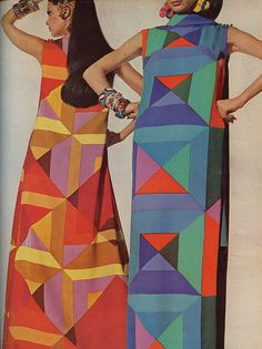 Geometric  Vogue, 1967.....I used the dress  on the right as an inspiration for a quilt 10 years later (for Lawrence) back then I had to cut things out of mags to save them,