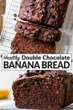 This dark double chocolate banana bread is soft and moist and loaded with chocolate chips! This banana bread is more healthy than most because it is made with Greek yogurt instead of sour cream but it still tastes absolutely decadent. Easy banana bread recipe with no mixer required! #bananabread #wellplated Chocolate Banana Bread, Easy Banana Bread, Banana Bread Recipes, Chocolate Chips, Chocolate Cake Recipe Easy, Baked Banana, Easy Cake Recipes, Muffin Recipes, Clean Recipes
