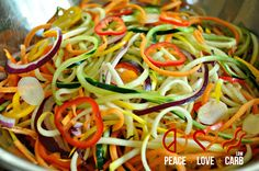 Rainbow Vegetable Noodles- baked in the oven with bacon fat, avocado oil or butter/ghee to add healthy fats.
