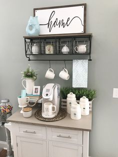 Come check out my Coffee Bar Summer Update! Coffee Bar Station, Home Coffee Stations, Tea Station, Coffee Bars In Kitchen, Coffee Bar Home, Coffe Bar, Home Decor Kitchen, Home Kitchens, Cheap Home Decor