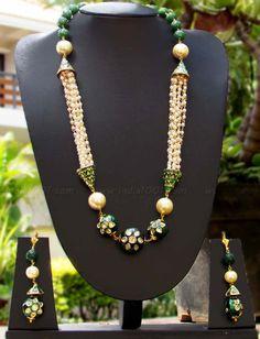 Beautiful Meenakari, Kundan & Pearl Necklace Set – India1001.com Bead Jewellery, Jewellery Designs, Ethnic Jewelry, Indian Jewelry, Beaded Jewelry, Jewelery, Silver Jewelry, Bead Necklaces, Vintage Necklaces